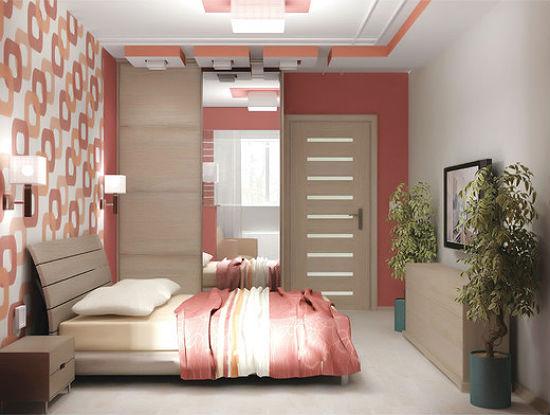Интерьер спальни хрущевки со встроенным в нишу шкафом