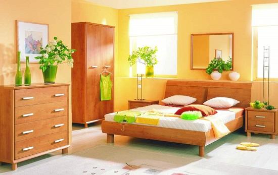 Небольшие цветы в декоративных горшочках в маленькой спальне