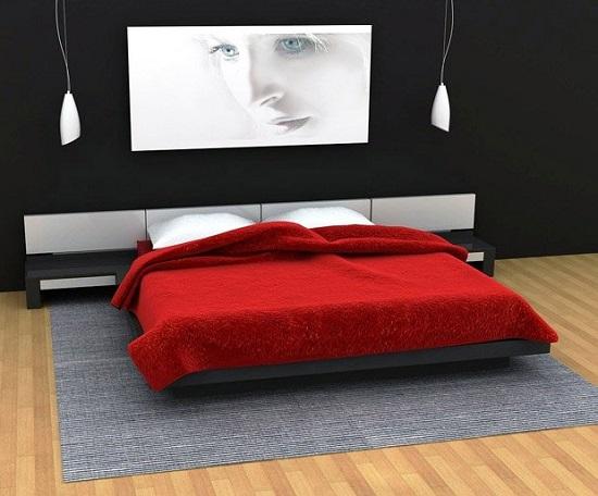 Сочетание черного и красного цвета в оформлении спальни