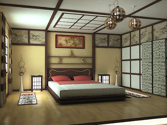 Пластиковые панели в оформлении интерьера спальни в японском стиле