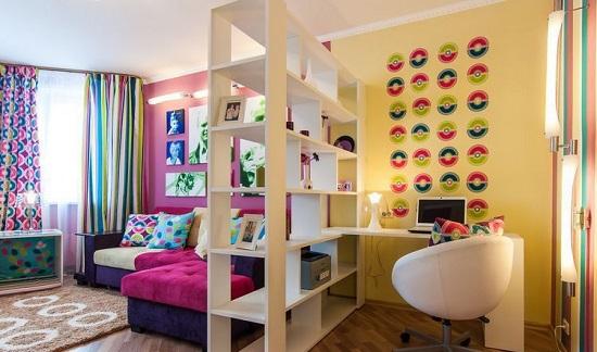 Зонирование спальни кабинета при помощи разной цветовой отделки