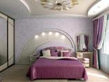 Стена с подсветкой из гипсокартона в отделке спальни
