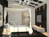Черно-белая спальня со скошенным потолком в загородном доме