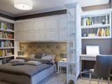 Зонирующая декоративная перегородка стеллаж в спальне кабинете