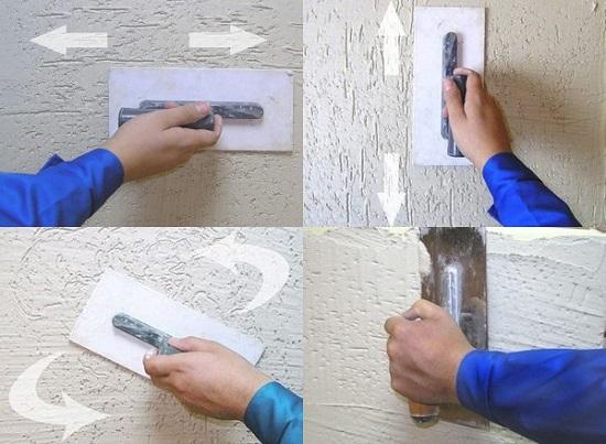 Процесс создания фактуры во время нанесения штукатурки короед