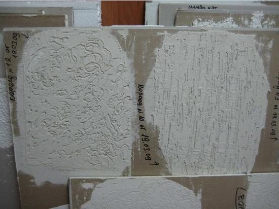 Примеры отделки штукатуркой короед с разным узором