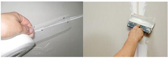 Укрепление стыков листов гипсокартона штукатурной сеткой