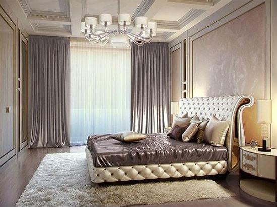 Декоративная венецианская штукатурка и молдинги в дизайне спальни