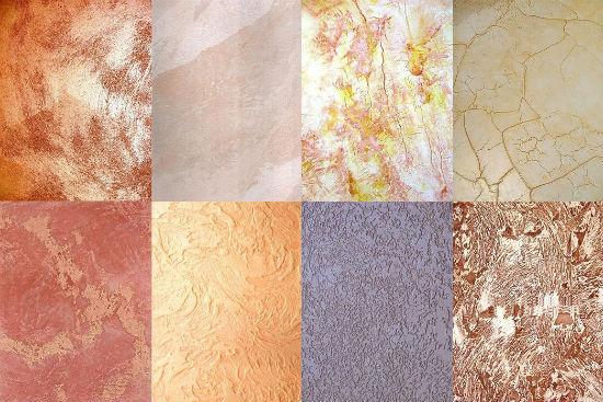 Виды текстур для нанесения декоративной штукатурки на стены