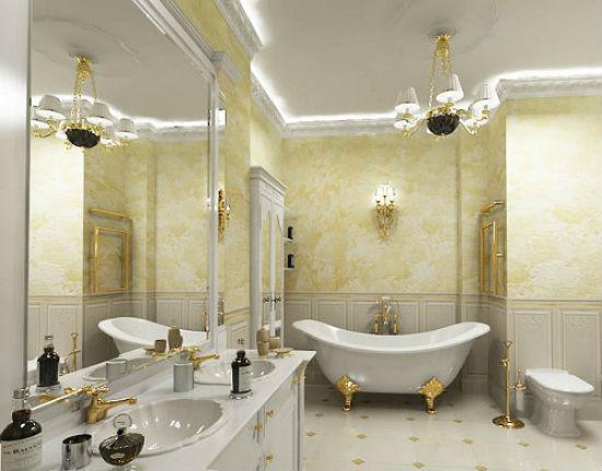 Дизайн классической ванной с отделкой стен штукатуркой