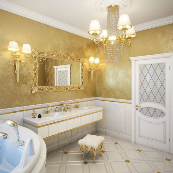 Дизайн ванной комнаты с отделкой стен венецианской штукатуркой