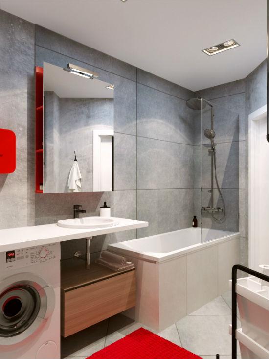 Декоративная штукатурка под бетон в дизайне ванной стиля лофт
