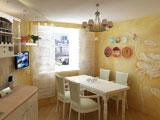 Декоративная штукатуркас объемным рисунком на стенах кухни