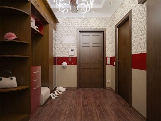 Комбинирование декоративной штукатурки и обоев в отделке коридора