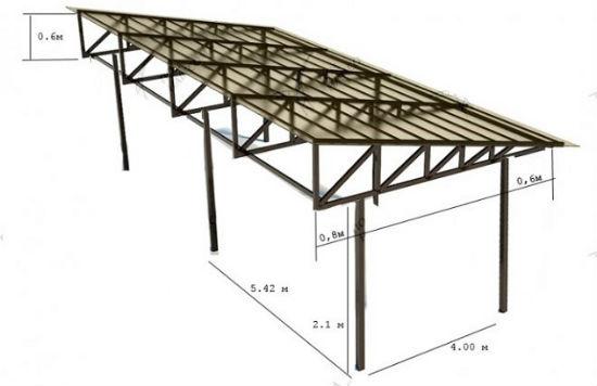 Проект поликарбонатного навеса под односкатной крышей
