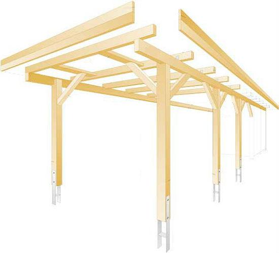 Конструктивные элементы типового деревянного навеса