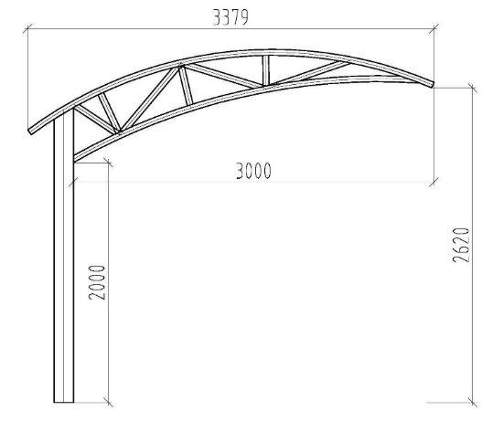 Проект ассиметричного поликарбонатного навеса арочной конструкции