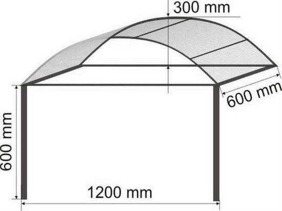Проект навеса подвесной конструкции из поликарбоната