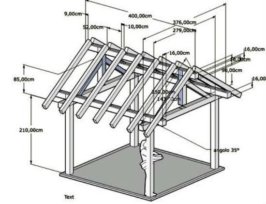 Проект деревянного навеса под двускатной крышей