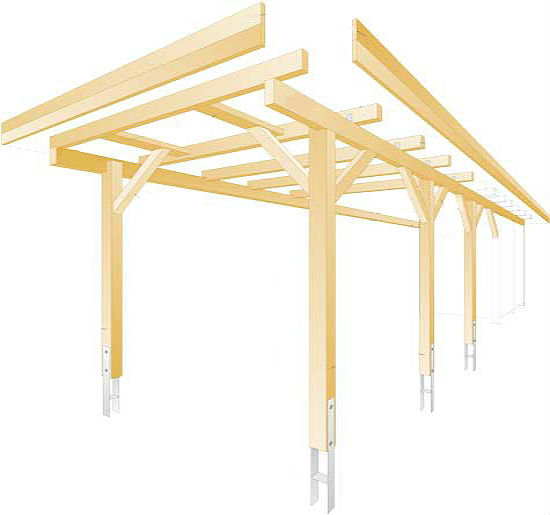 Схема сборки деревянных элементов конструкции навеса для барбекю