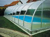 Поликарбонатный навес со сдвижными створками для бассейна