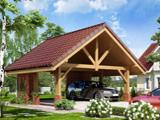 Проект гаражного навеса из дерева и кирпича