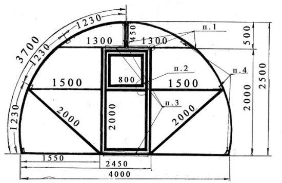 Чертеж теплицы арочной конструкции из труб с подробными размерами