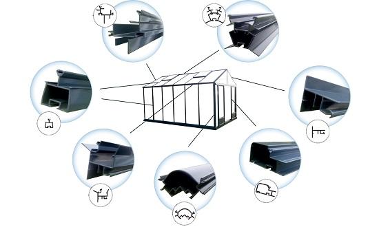 Сечения алюминиевого профиля для строительства металлической теплицы