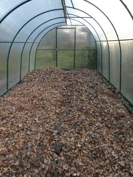 Подготовка грунта путем утепления грядок листьями