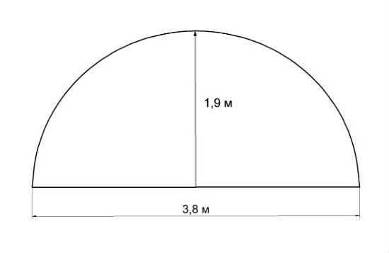 Чертеж дачной теплицы из профтрубы с радиусом арки 1,9 метра