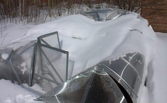 Раздавленная слоем снега плохо укрепленная теплица