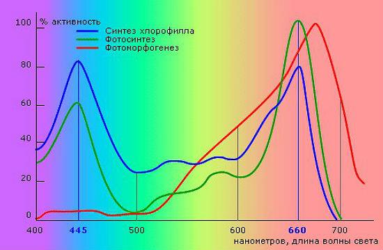 Рекомендованный спектр для организации освещения в теплице