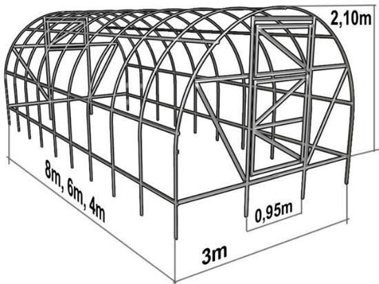 Чертеж теплицы арочной конструкции из профтрубы